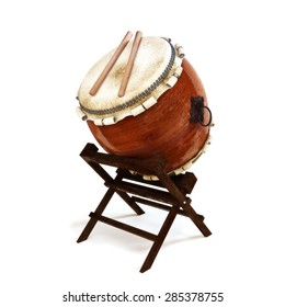 Japanese Taiko percussion drums instrument on a white isolated background.