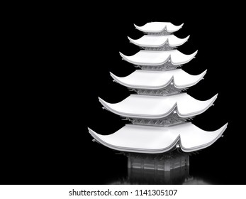 Japanese temple in white material on black background. 3d illustration