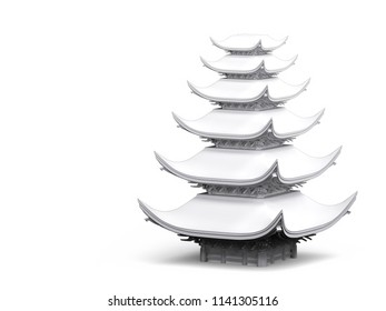 Japanese temple in white material on white background. 3d illustration