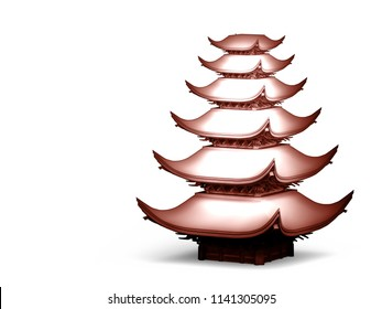 Japanese temple in white and red material on white background. 3d illustration