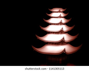 Japanese temple in white and red material on black background. 3d illustration