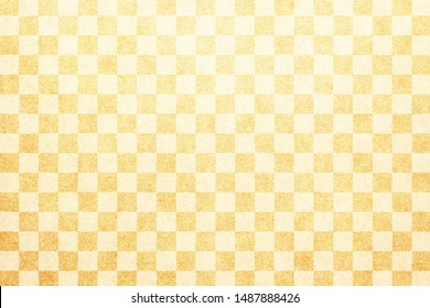 Japanese traditional natural gold color checkered pattern paper texture background