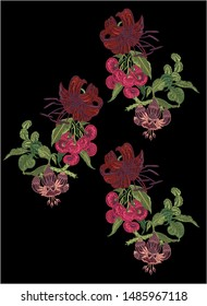 Japanese tropical floral filigree create different stitches