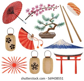 Japanese watercolor set - cherry blossoms branch, paper lanterns, Fuji mountain, gate, bonsai pine, red umbrella, fan