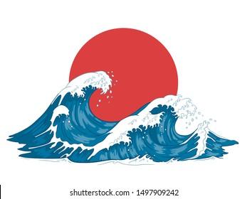 Japanese wave. Japanese big waves, raging ocean and vintage sea water. Japan ocean tsunami wave splash card, hokusai style marine storm splashing engraving  illustration