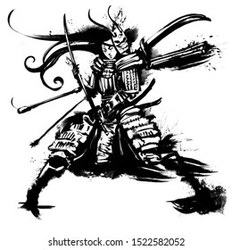 Japanese woman samurai in full outfit stands holding a sword in her hands. 2D illustration.