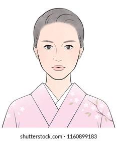 A Japanese woman wearing a kimono