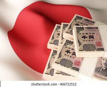 Japanese yen banknote bundles on textile textured Japan flag. 3d illustration.