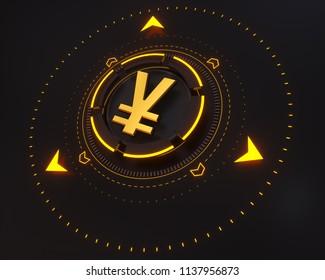 Japanese Yen Money Logo Symbol. 3D Illustration of Gold Japanese Yen Money Logo on the Black Digital Background and Yellow Glow Shape. Japanese Yen Logo.
