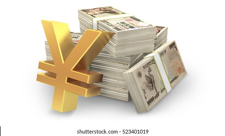 Japanese Yen sign and stacks of ten thousand Yen banknote, 3D rendering and illustrations.
