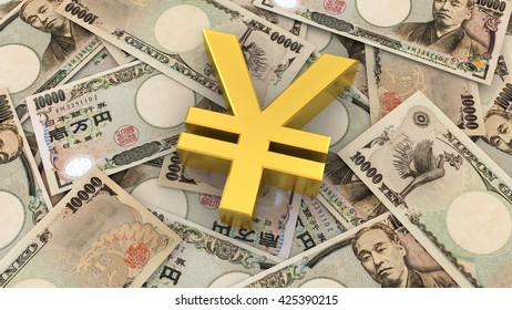 Japanese Yen symbol and banknote background, 3D rendering and illustration.