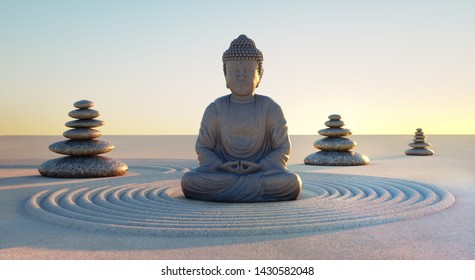 Japanese zen garden -Buddha and stack of stones - 3D illustration