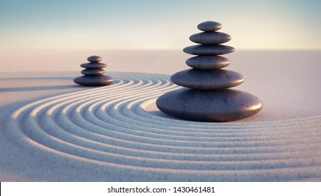 Japanese zen garden - two stacks of pebbles in the evening sun - 3D illustration