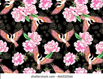 Japaneses new collection style seamless pattern with crane and flowers to printing on fabric black background