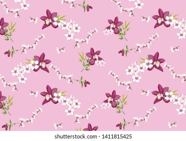 Japanesse inspiration flower walpaper with pink and white orchids and sakura flowers.