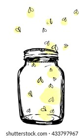 Jar with fireflies. Hand-drawn artistic illustration for design, textile, prints.