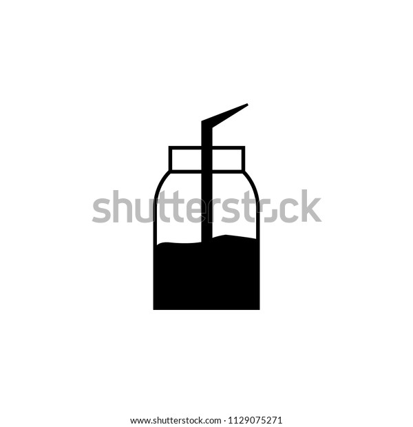 Jar Juice Straw Icon Element Tattoo Stock Illustration