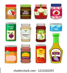 Jars with canned fruits and others different goods. pictures in flat style. Food canned and jar with frui jam illustration
