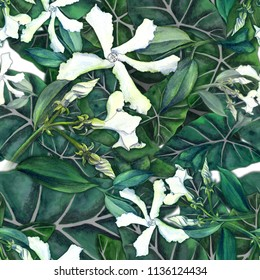Jasmine flowers on the background of exotic leaves. Seamless pattern. Use printed materials, signs, items, websites, maps, posters, postcards, packaging.