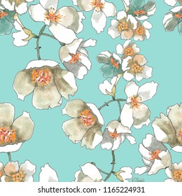 jasmine flowers watercolor on light turquoise background seamless pattern for fabrics, paper, wallpaper