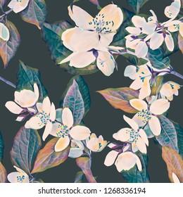 Jasmine seamless pattern. Watercolor handpainted illustration.