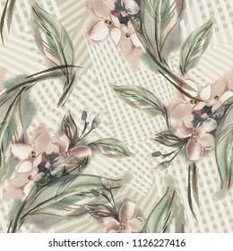 Jasmine Seamless Pattern. Watercolor Illustration.