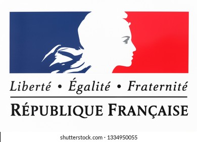 Jassans, France - March 14, 2018: Liberty, equality, fraternity sign and the national motto of France