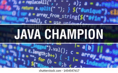 Java champion concept with Random Parts of Program Code. Java champion with Programming code abstract technology background of software developer and Computer script. Java champion Background concept
