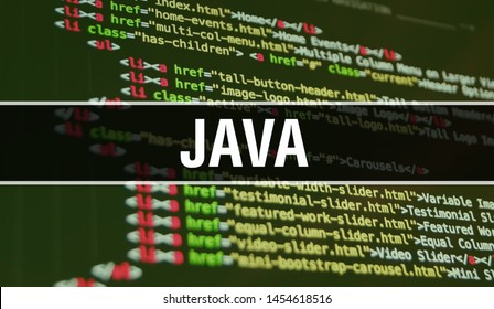 JAVA concept illustration using code for developing programs and app. JAVA website code with colourful tags in browser view on dark background. JAVA on binary computer code, background