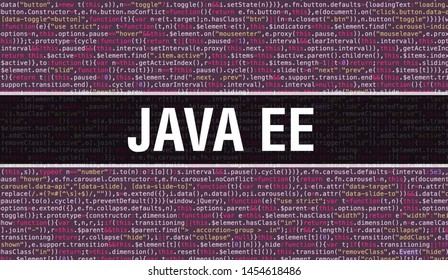Java EE text written on Programming code abstract technology background of software developer and Computer script. Java EE concept of code on computer monitor. Coding Java EE programming website