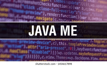 Java ME with Abstract Technology Binary code Background.Digital binary data and Secure Data Concept. Software / Web Developer Programming Code and Java ME. Java ME Java Script Abstract Computer Script