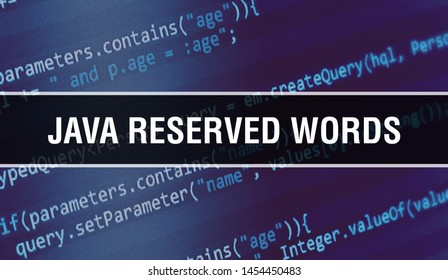 Java reserved words with Binary code digital technology background. Abstract background with program code and Java reserved words. Programming and coding technology background. Java reserved words