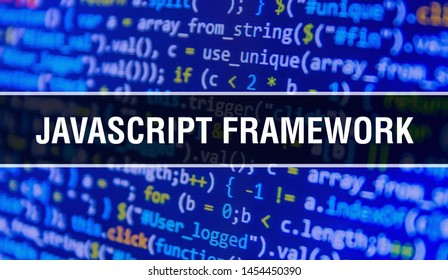 JAVASCRIPT FRAMEWORK concept illustration using code for developing programs and app. JAVASCRIPT FRAMEWORK website code with colorful tags in browser view on dark background. JAVASCRIPT FRAMEWORK on