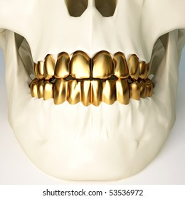 in the jaws of the skull gold teeth. 3d image.