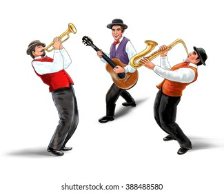 Jazz band, music group, isolated on white background, Trio music players, holiday concert. Saxophonist, Trumpetist, Guitarist. For music Art, web, album design. Oktoberfest USA. Jazz Festival. 2019