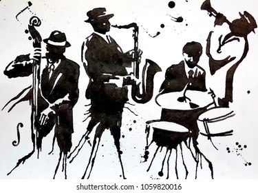 Jazz band. Jazz Swing Orchestra. Silhouettes. International Jazz Day It is celebrated annually on April 30. Drawing, black mascara on paper. Naive Art. Abstract art.
