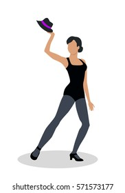 Jazz dancer in black tights launches with a hat. Dance to music, including both tap dance and jitterbug. Graceful girl dance in tight cloth. Culture and entertainment. illustration