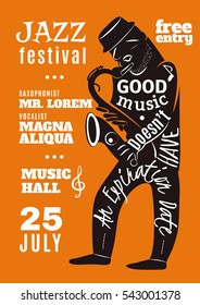 Jazz festival in music hall advertisement bill poster with black musician silhouette and lettering abstract  illustration