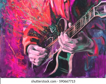 Jazz guitarists hands, playing guitar, with multicolored fantasy background,  in bright red-pink colores. Original artwork in acrylic on canvas