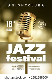 Jazz Improvisation Festival Flyer, Brochure Template. Music Improvisation Concert Announcement, Promo Banner. Nightclub Entertainment Evening Playbill Concept. Microphone Realistic Illustration