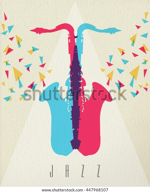 Jazz music concept, saxophone instrument silhouette in color style over texture background.