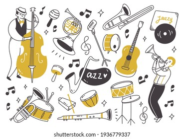 Jazz music player with instruments in doodle style vector