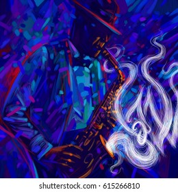 Jazz saxophone player in the hat jazz musician saxophonist abstract  grunge style with bright spots and large picturesque strokes illustration festival poster with text