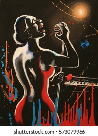 Jazz singer, silhouette with microphone under scenic lights, black background with artistic sprays and streaks. Fantasy original artwork, acrylic on canvas.