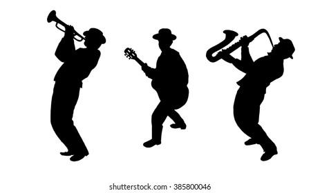 Jazz Trio Musicians silhouette isolated on white background. Saxophonist, Trumpet player, Guitarist man. Black white. Oktoberfest. Jazz festival wallpaper. Music silhouette. Jazz band Dance fest. 2019