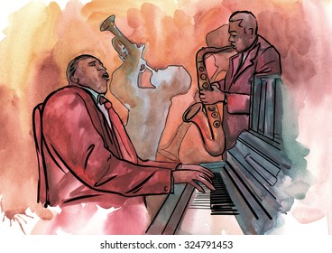 Jazz trio playing composition with trumpet, piano and saxophone
