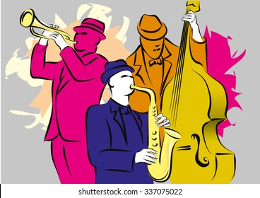 Jazz trio playing musical composition
