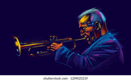 Jazz trumpet player. Abstract illustration for jazz poster.