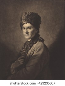 Jean Jacques Rousseau, mezzotint by David Martin, after 1766 painting by Allan Ramsay. Rousseau is wearing a costume made for him by an Armenian tailor in Paris. Rousseau was in Britain in exile from