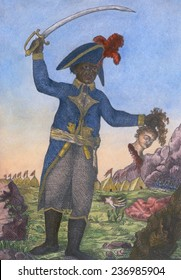 Jean-Jacques Dessalines, (1758-1806), general of the Haitian revolution, waving his sword and holding the head of a female French colonist. 1806 engraving with modern color.